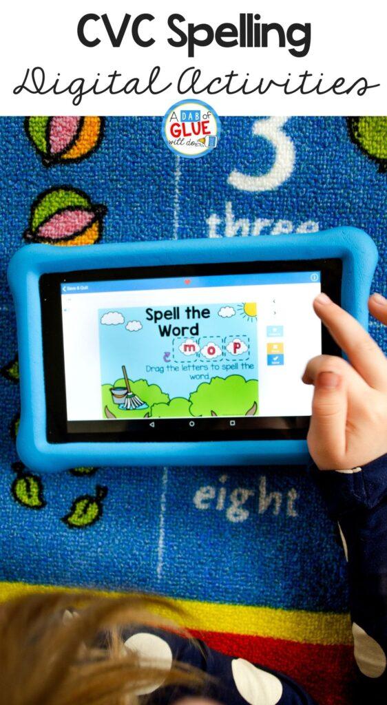 Kindergarten CVC Spelling Digital Activities works on word building available on 3 different platforms: Google Slides, Seesaw, or Boom Cards.