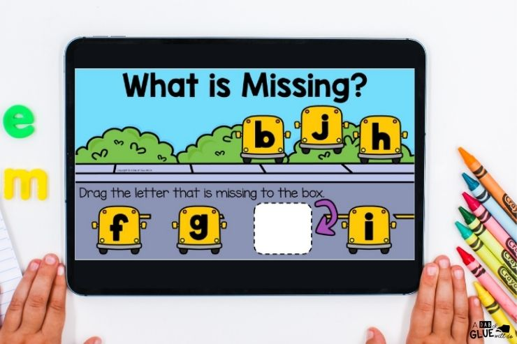 What letters are missing Back to school digital games and activities for kindergarten students. Make learning fun with technology and fun games.