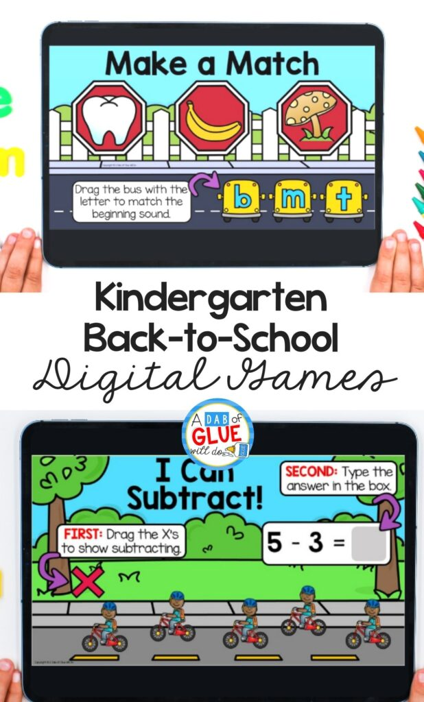 Match letter and subtract Back to school digital games and activities for kindergarten students. Make learning fun with technology and fun games.