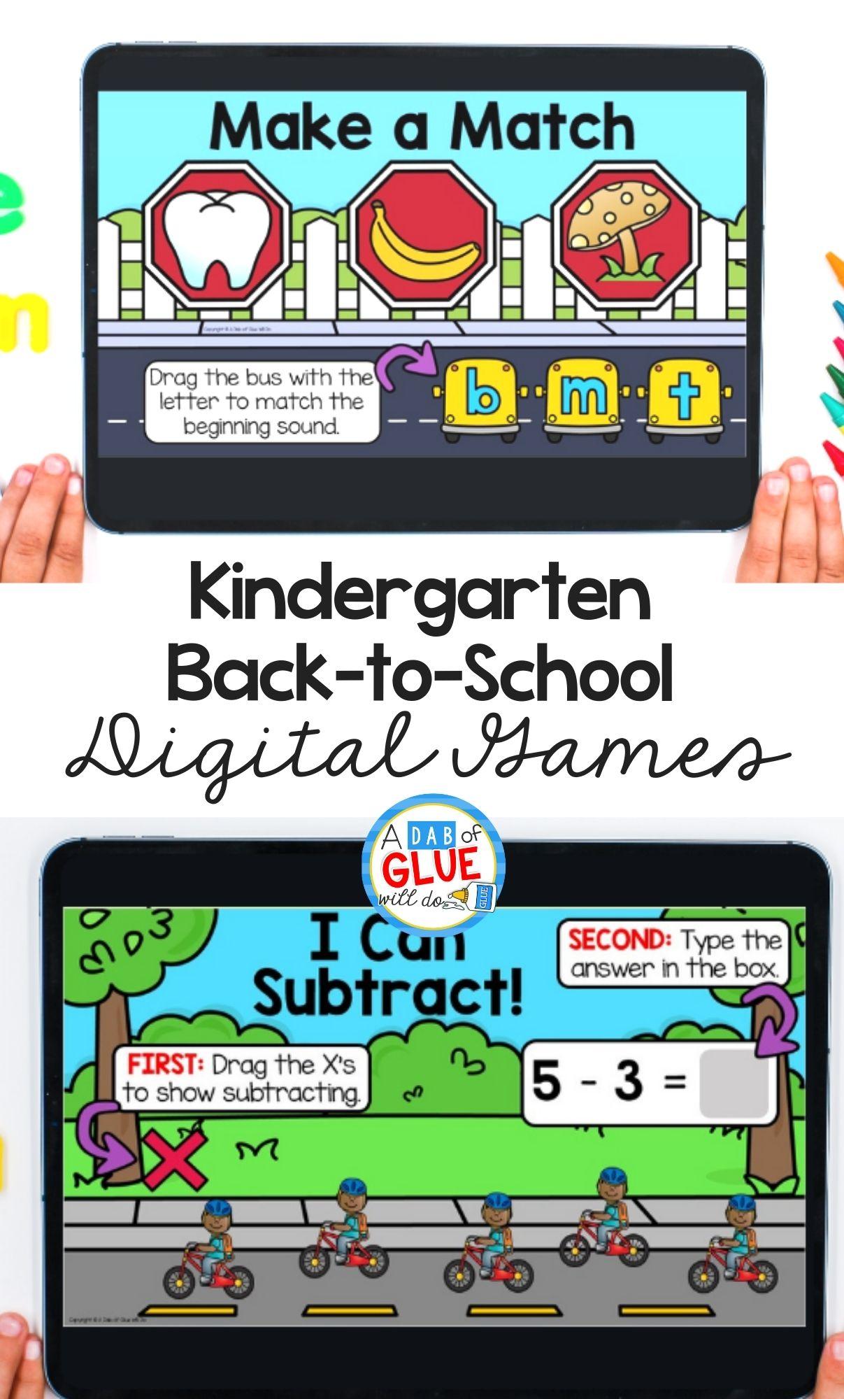 August and Back-to-School Digital Games for Kindergarten