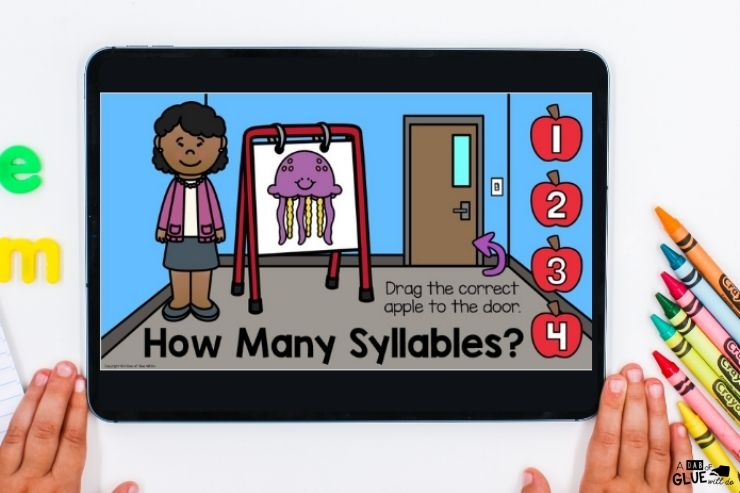Working on syllables Back to school digital games and activities for kindergarten students. Make learning fun with technology and fun games.