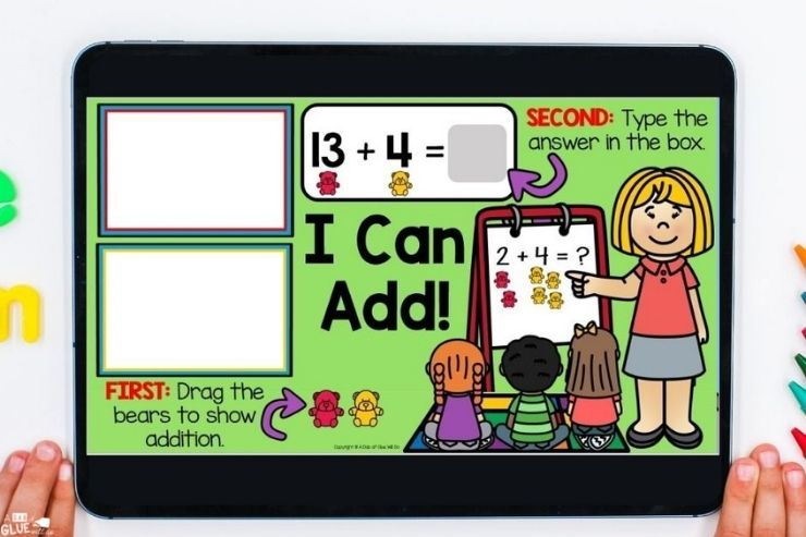 First graders learn to add with digital games and activities