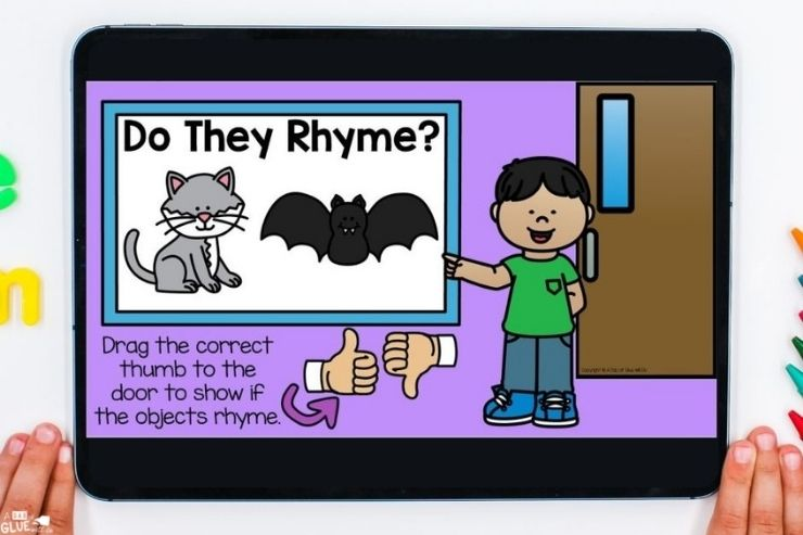 Practicing rhyming with PreK Back-to-school Digital Games and Activities