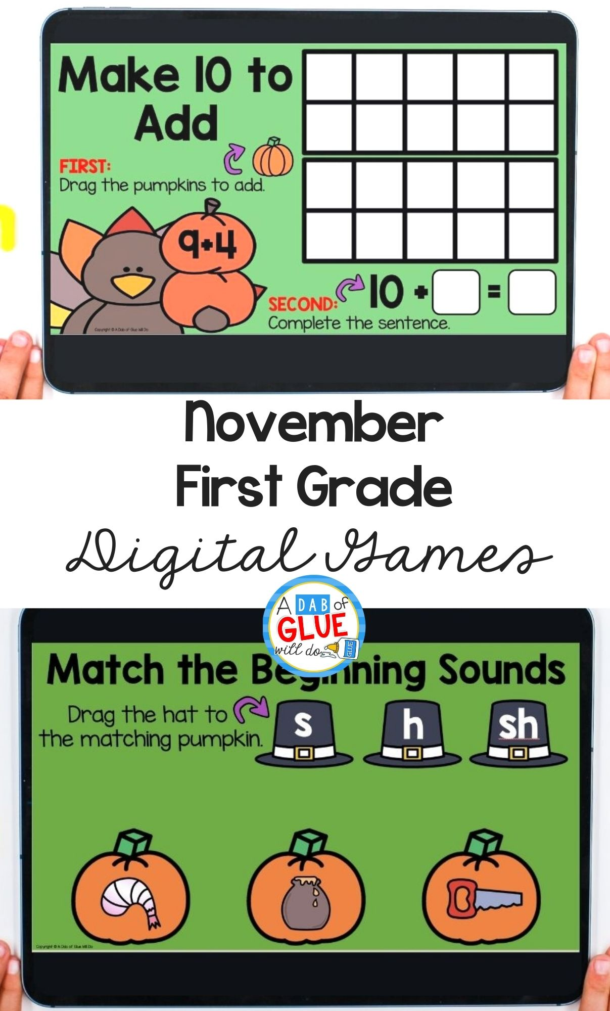 November Digital Games and Activities for First Grade