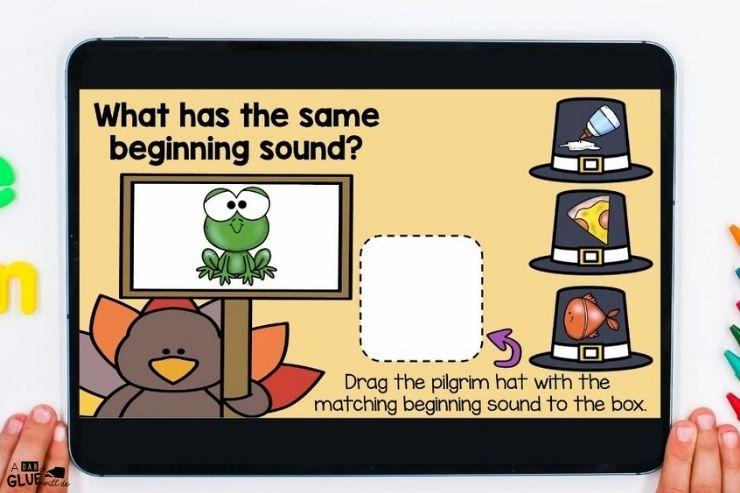 Working on beginning sounds with. this kindergarten digital games