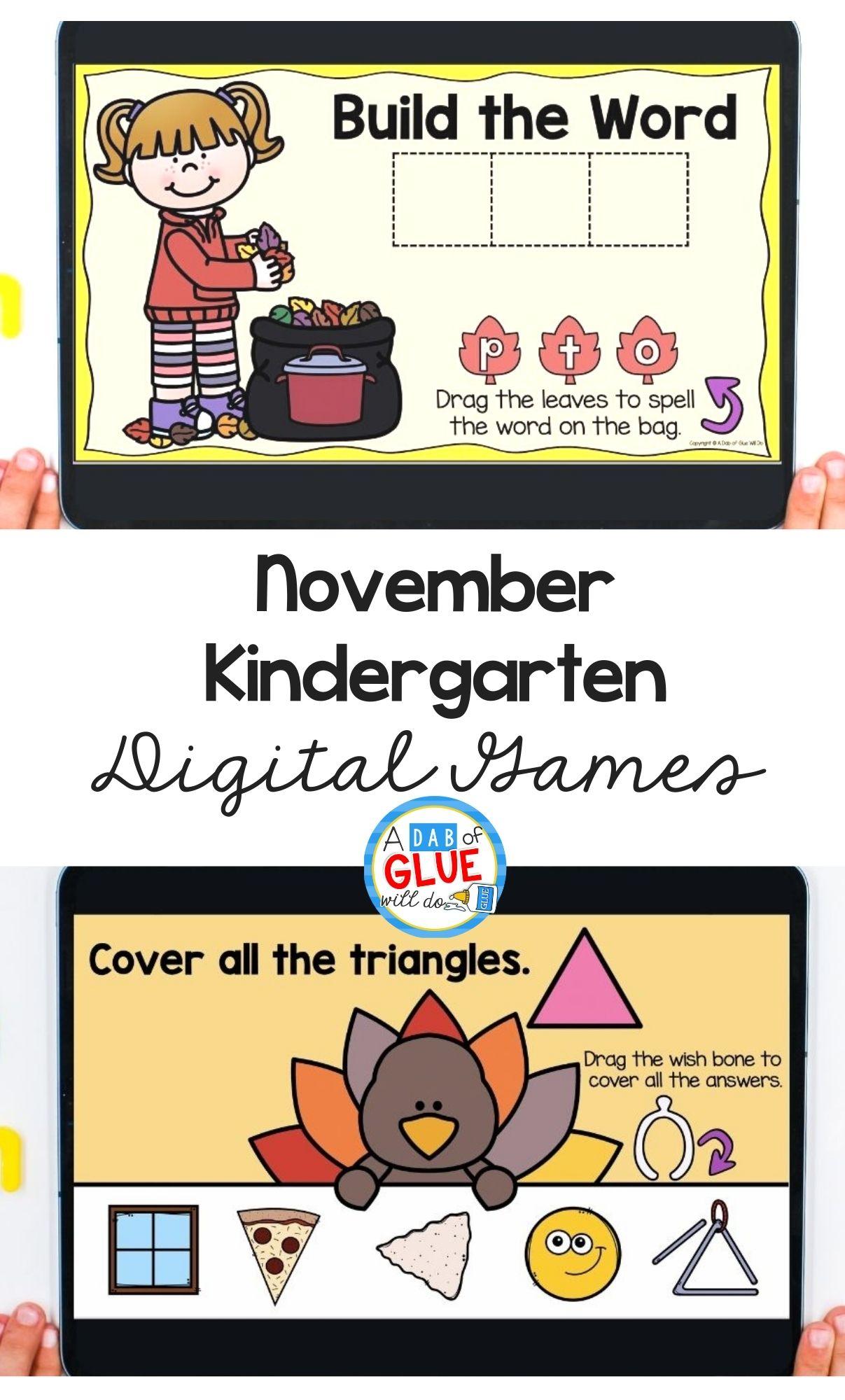 November Digital Games for Kindergarten